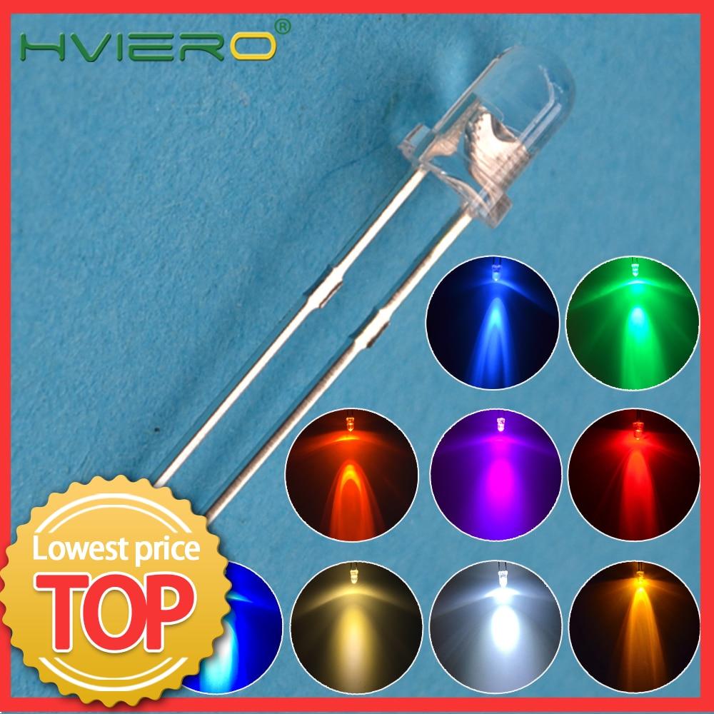 100Pcs F3 3mm עגול לבן אדום ירוק כחול מים ברור דיודה LED מבחר קיט Ultra סופר בהיר אור פולטות דיודות הנורה מנורה