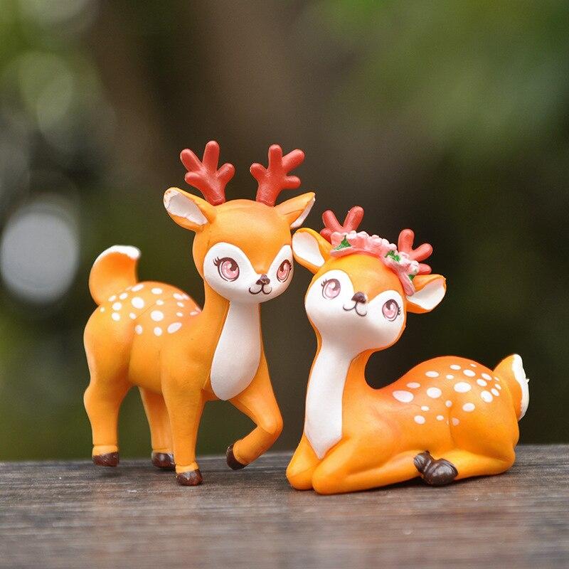 Mini figuras de decoração baifuor para crianças, 1 peça, floresta, animal, sika, cervos, jardim das fadas, acessórios de decoração para casa, presente de natal moderno, brinquedo para crianças