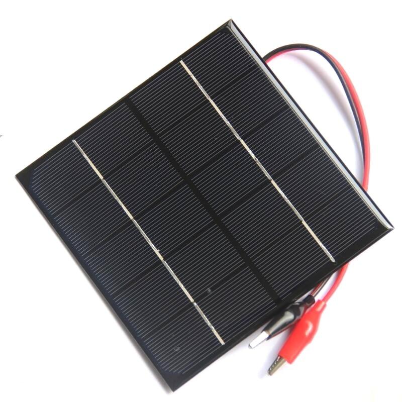 BUHESHUI 3W 5V Solar Cell Epoxy Monocrystalline Solar Panel+Clip For Charging 3.7V Battery Education 132*132MM Free Shipping