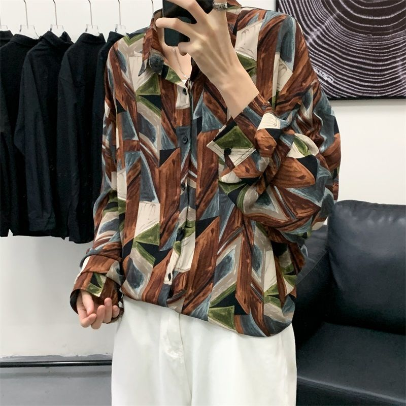 Summer Thin Retro Printed Shirt Men Korean Fashion Loose Casual Shirt Men Harajuku Streetwear Social Long-sleeved Shirt Men