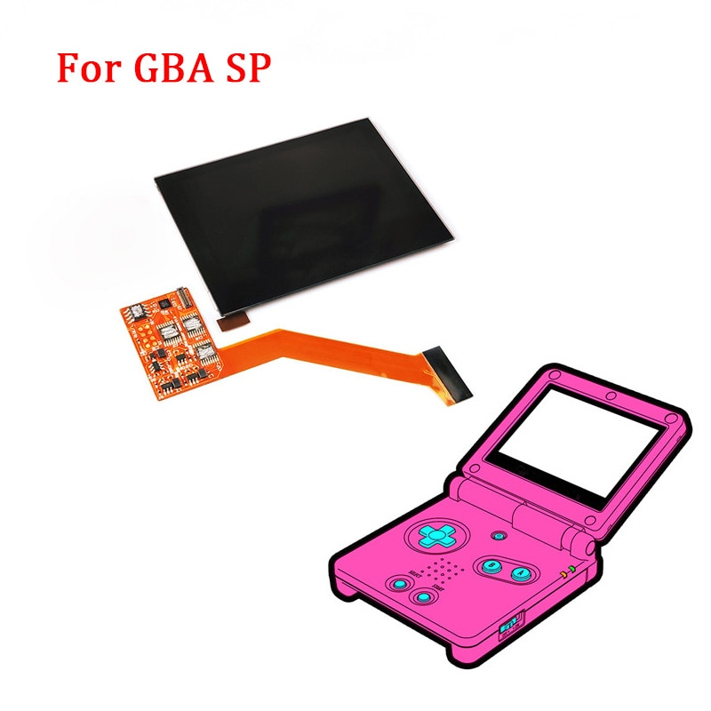 IPS LCD قطع غيار للشاشة أطقم ل نينتندو GBA SP IPS LCD الخلفية شاشة عالية السطوع مغلفة عرض LCD أطقم ل GBASP