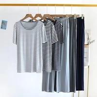 90 kg wear big size sleepwear pajamas for women new fashion striped summer pyjamas female short sleeve trousers two piece set
