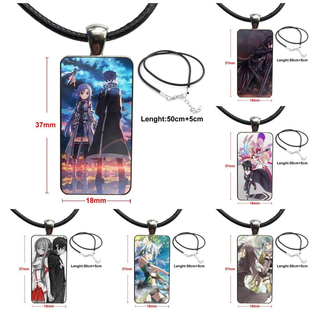 Arte japonés de la espada del Anime en línea para los niños cuentas de cristal gargantilla de cabujón colgante collar con dije de rectángulo joyería de Color de acero
