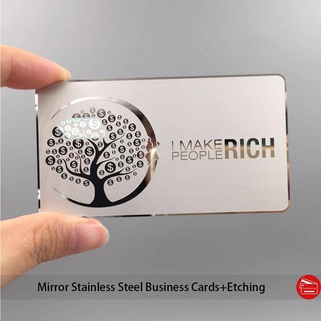 Custom mirror finish silver metal business card custom luxury engraved mirror metal business card
