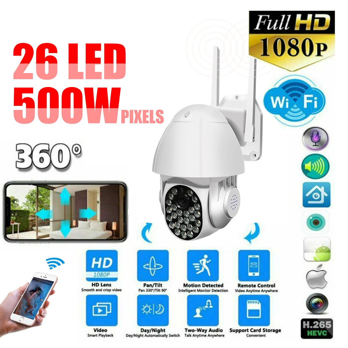 1080P PTZ واي فاي كاميرا IP في الهواء الطلق 4X التكبير الرقمي AI الإنسان كشف كاميرا لا سلكية H.265 P2P الصوت 2MP 3MP الأمن كاميرا تلفزيونات الدوائر المغلقة