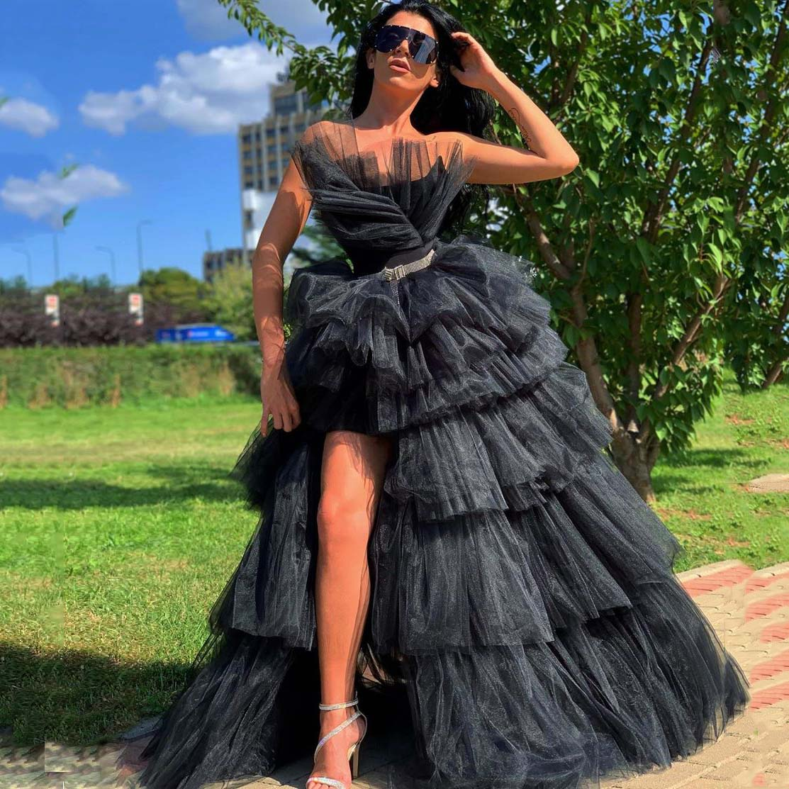 Black Luxury Long Prom Dresses Strapless Layered Ruffles Tulle Split Ball Gown Women Formal Evening Party Cocktail Elegant Gowns amazing 2020 new prom dresses ball gown tiered ruffled tulle purple unique evening dress strapless celebrity pageant gowns