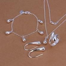925 sterling Silver bracciali orecchini collana di Cerimonia Nuziale delle donne di alta-qualità classico di goccia anelli dei monili di modo set S223