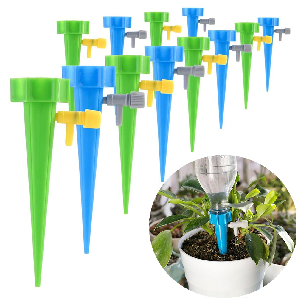 AliExpress - 36/24/12/6 PCS Auto Drip Irrigation Watering System Dripper Spike Kits Garden Household Plant Flower Automatic Waterer Tools