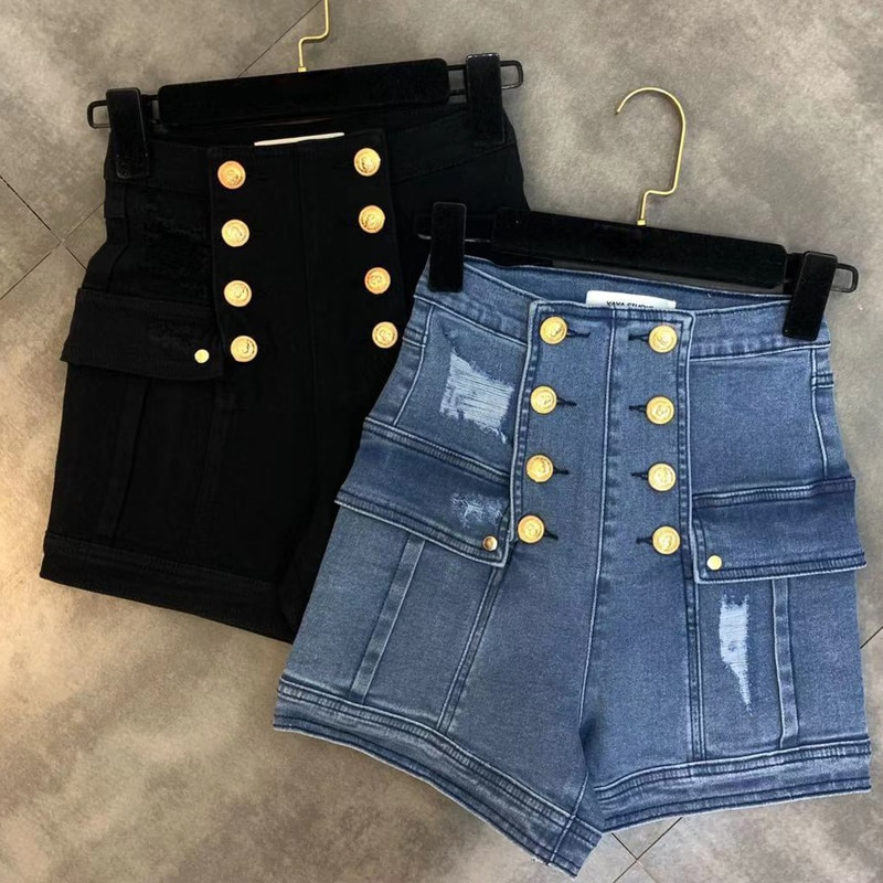HIGH STREET, novedad de moda 2020, pantalones cortos de diseñador, pantalones cortos vaqueros con botones de León de doble botonadura