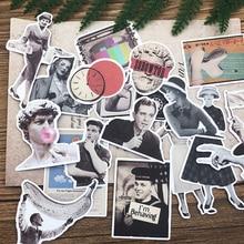 40 pièces/sac autocollants bricolage scrapbooking européen et américain rétro film personnage scrapbooking album joyeux plan décoration autocollant