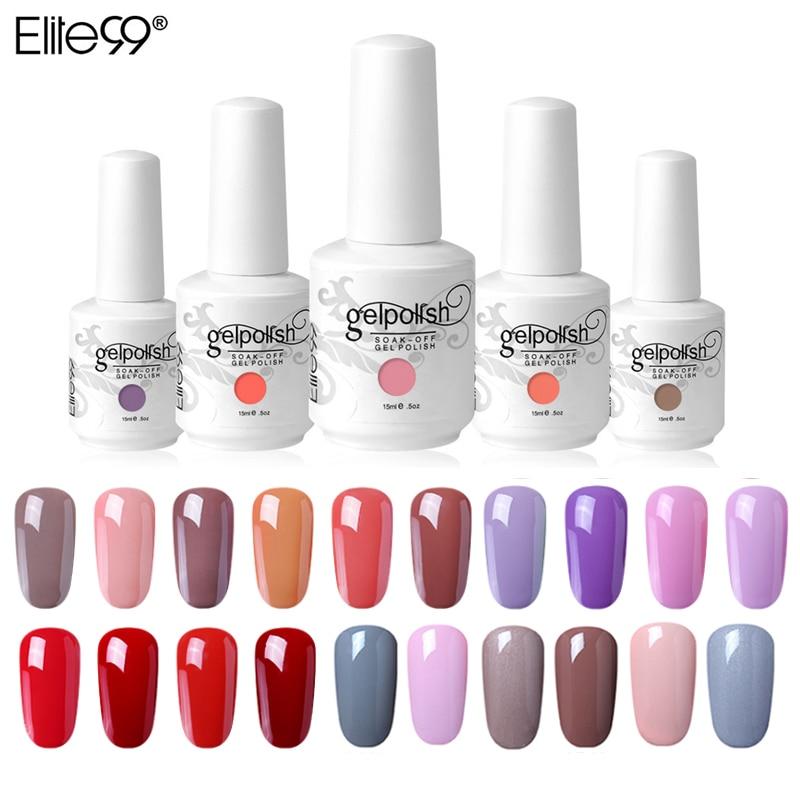 Elite99 15ml UV Gel Nail Polish Glitter Soak Off Gel Polish Nail Art Varnish Lacquer Gellak Semi Permanent 298 Colors Manicure