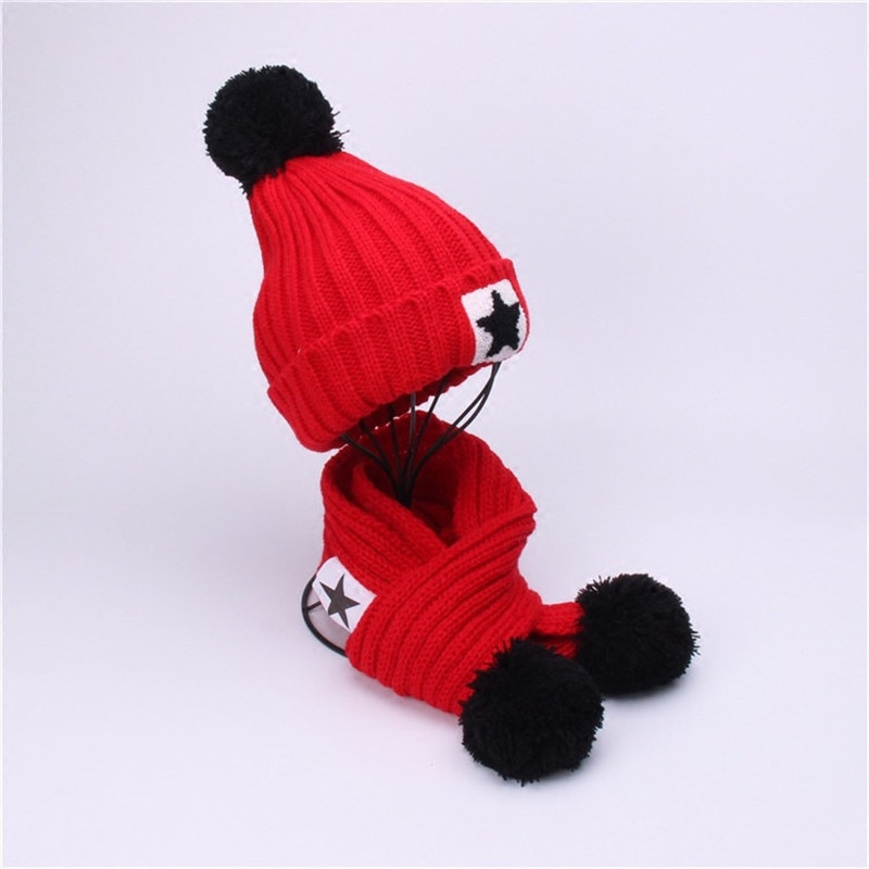 2017 new lambswool wool knit knitted pom pom winter women female girl tippet hat beanie gloves scarf bundle set mom warm hat 2020 Winter Warm Kids Hat And Scarf Set For Child Knit Add Velvet Beanies Hat Scarf Baby Girl Boy Solid Pom Pom Cap Scarves
