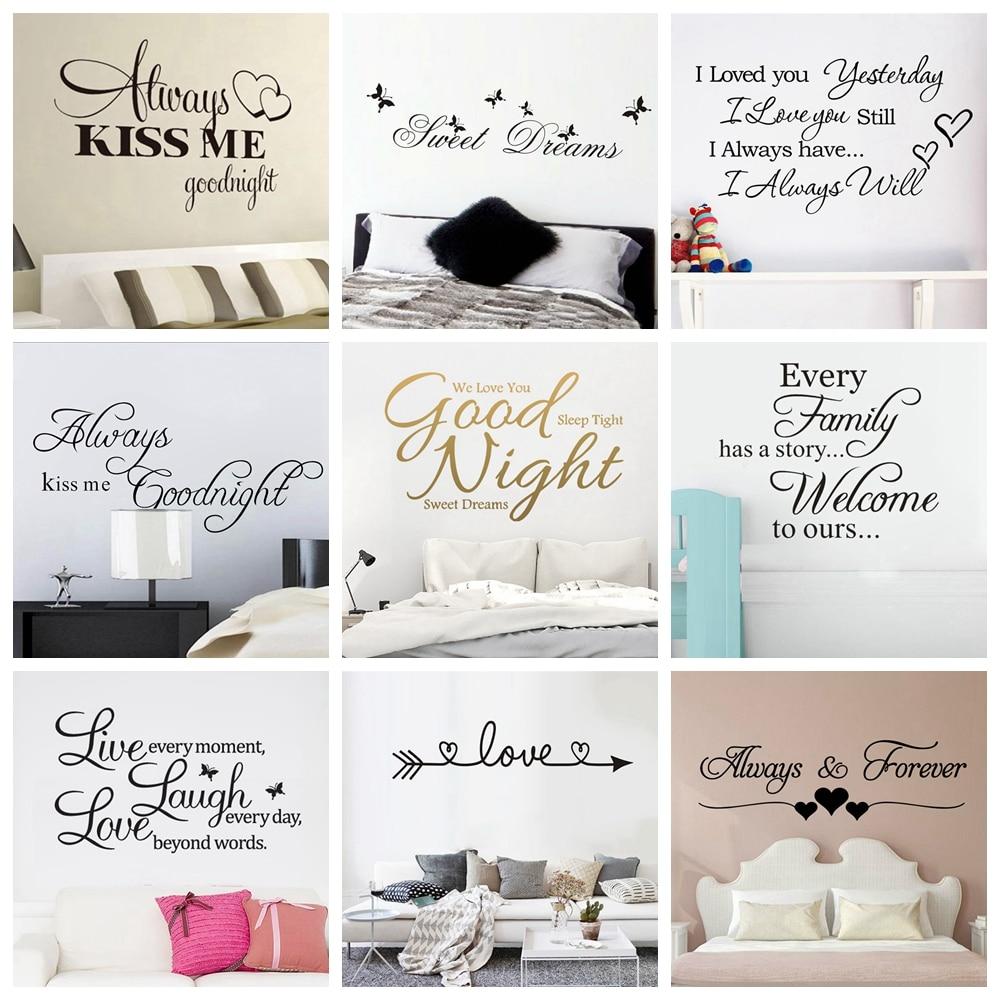 Citação boa noite doces sonhos adesivos de parede personalizado criativo para sala estar quarto arte decalques wallstickers
