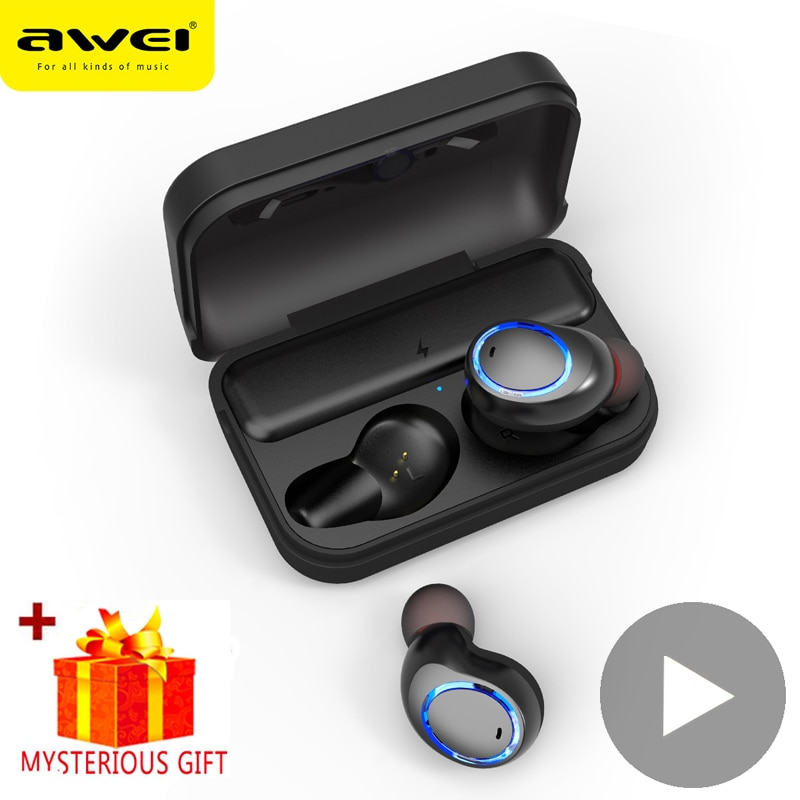 Awei T3 auricular Bluetooth auriculares cierto TWS inalámbricos auriculares 5,0 auriculares en la oreja Bud teléfono móvil Bluetooth auricular música