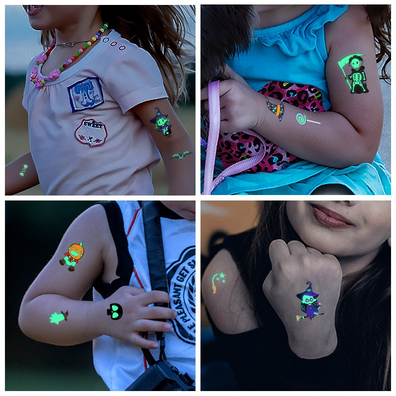 Tela de araña cara de calabaza dibujos animados fluorescentes tatuaje luminoso pegatinas Halloween patrón temporal niños juguete