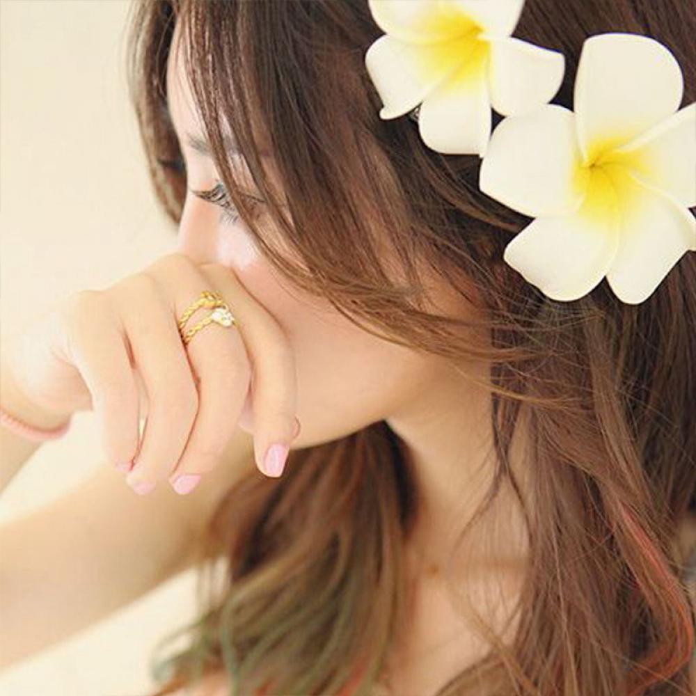 2pcs Romantic Plumeria Flower Hairpin Bridal Hair Pins Bohemia Seaside Beach Style