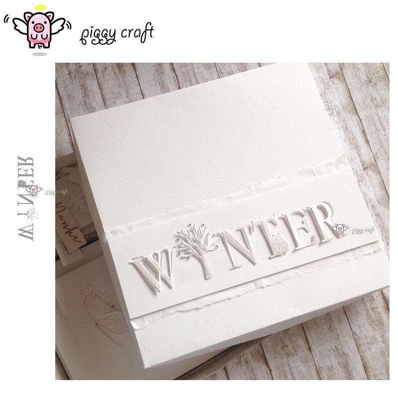 Piggy Craft troqueles de corte de metal troquelado molde invierno letras decoración manualidades de papel de álbum de recortes cuchillo molde de cuchilla perforadora de plantillas troqueles