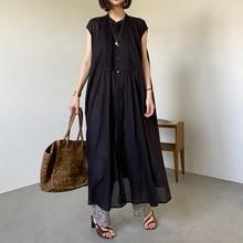 Black Long Shirt Elegant Women Summer Clothing Simple Design Pullover Maxi Tops 2021 Japanese Korean