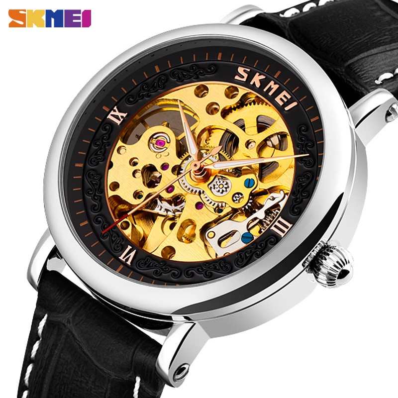 Automatic Watches Mens Simple Hollow Big Dial Mechanical Watch Men Wristwatch SKMEI  Waterproof Leather Strap Male Reloj Hombre