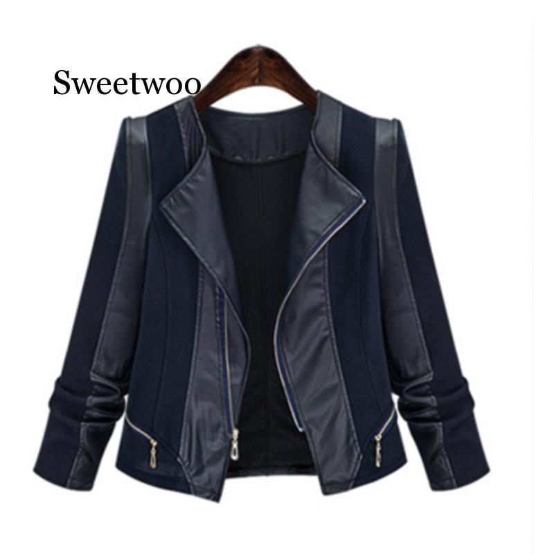 Женская короткая куртка из искусственной кожи SWEETWOO, черная Повседневная облегающая куртка большого размера 5XL из комбинированного кожзаме...