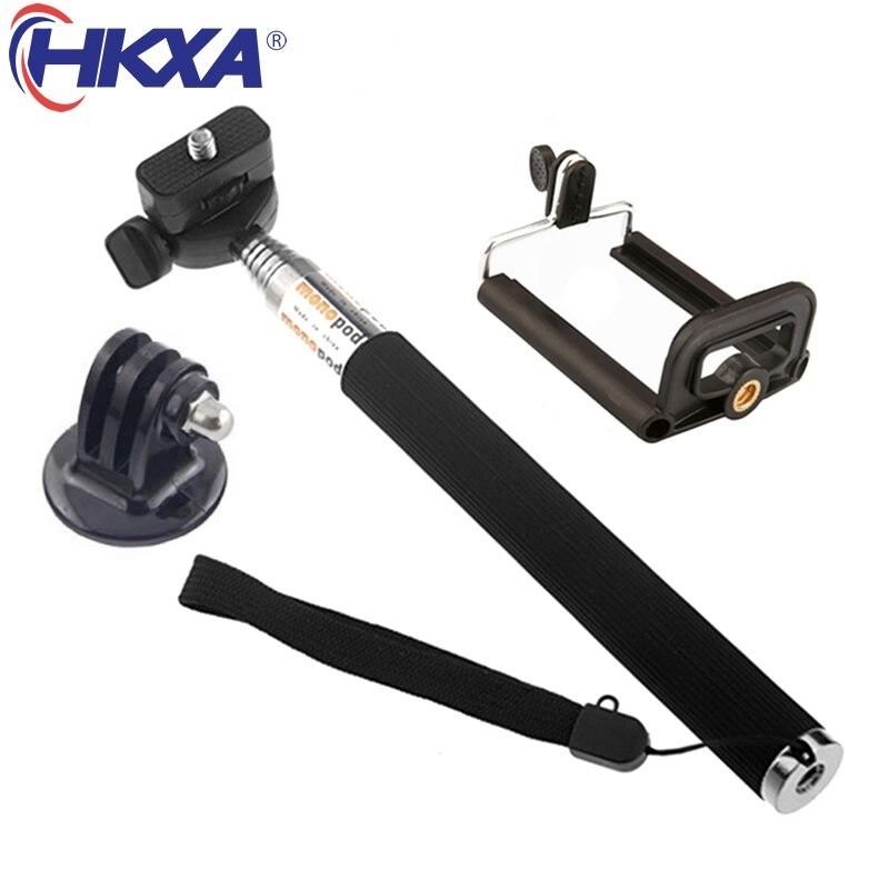 Extendable Handheld Selfie Stick Monopod + Mount Adapter+Phone Holder for Gopro Hero 5 4 3 3+ 2 SJ4000 Xiaomi Yi Sports Camera