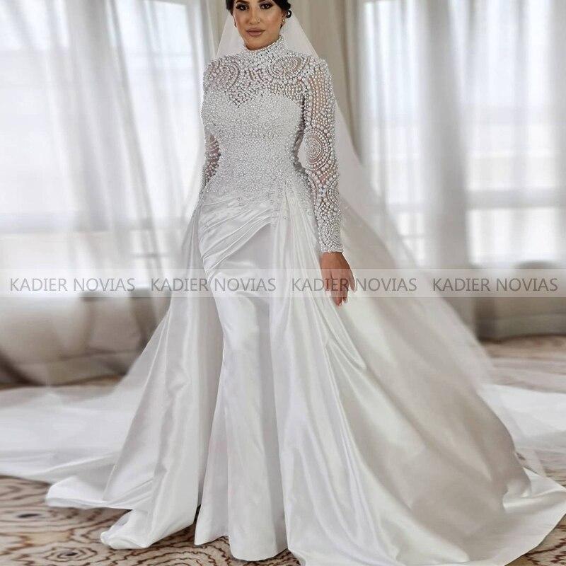 Vestido De novia De manga larga, Vestido musulmán De satén De sirena...