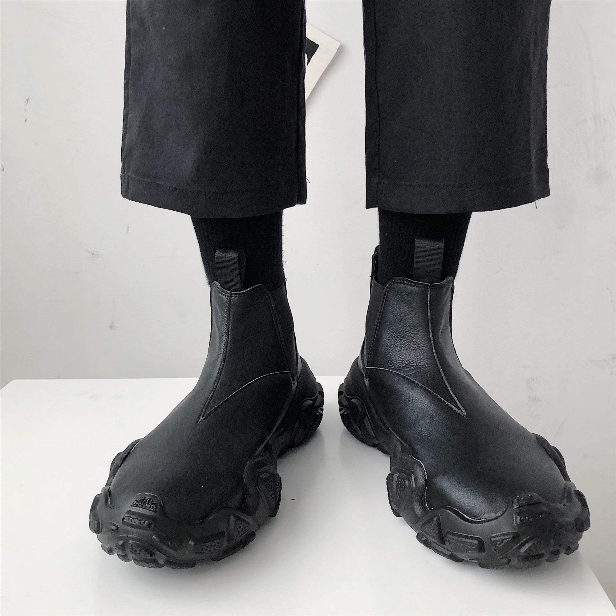 حذاء رجالي تشيلسي مارتن عالي الجودة ، حذاء جلد على الطراز الإنجليزي ، حذاء كاجوال ، حذاء أسود مريح