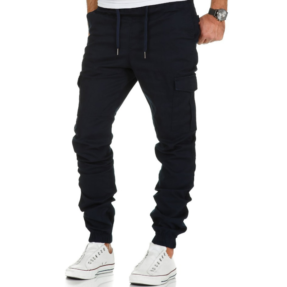Spring Solid Color Jogger Men Cargo Pants Outdoor Tactical Military Pants Casual Loose Sweat Pants Men Fashion Long Trousers D30