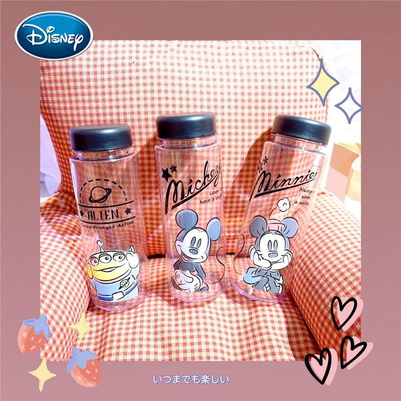 Disney Mickey Minnie impreso taza de agua de dibujos animados estampado transparente resistente a las caídas tetera de plástico taza de agua de los niños taza de agua