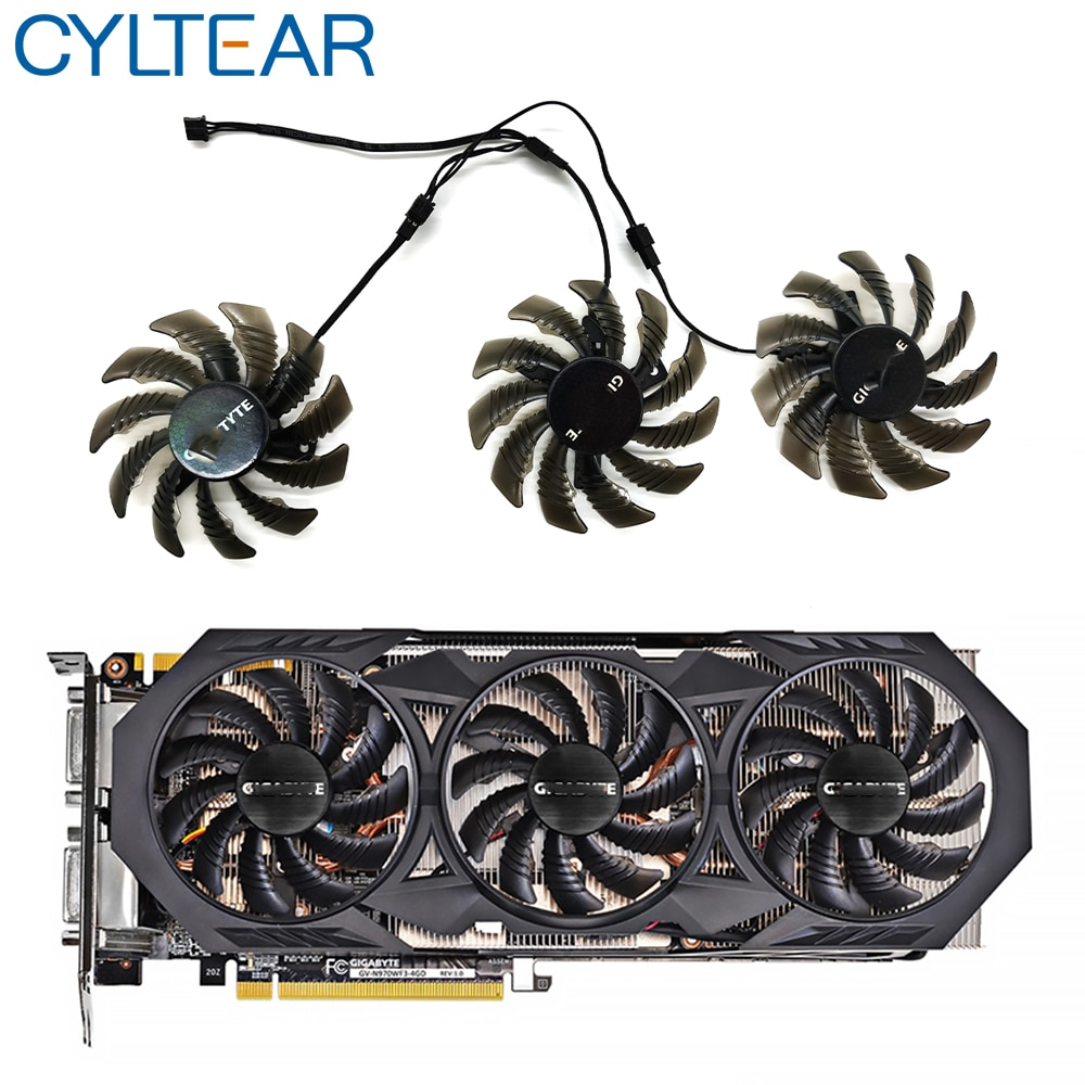 3pcs 3pin 75MM T128010SM PLD08010S12H GTX970 VGA GPU Cooler Fan For Gigabyte GTX 970 Windforce G1 Graphics Cards As Replacement