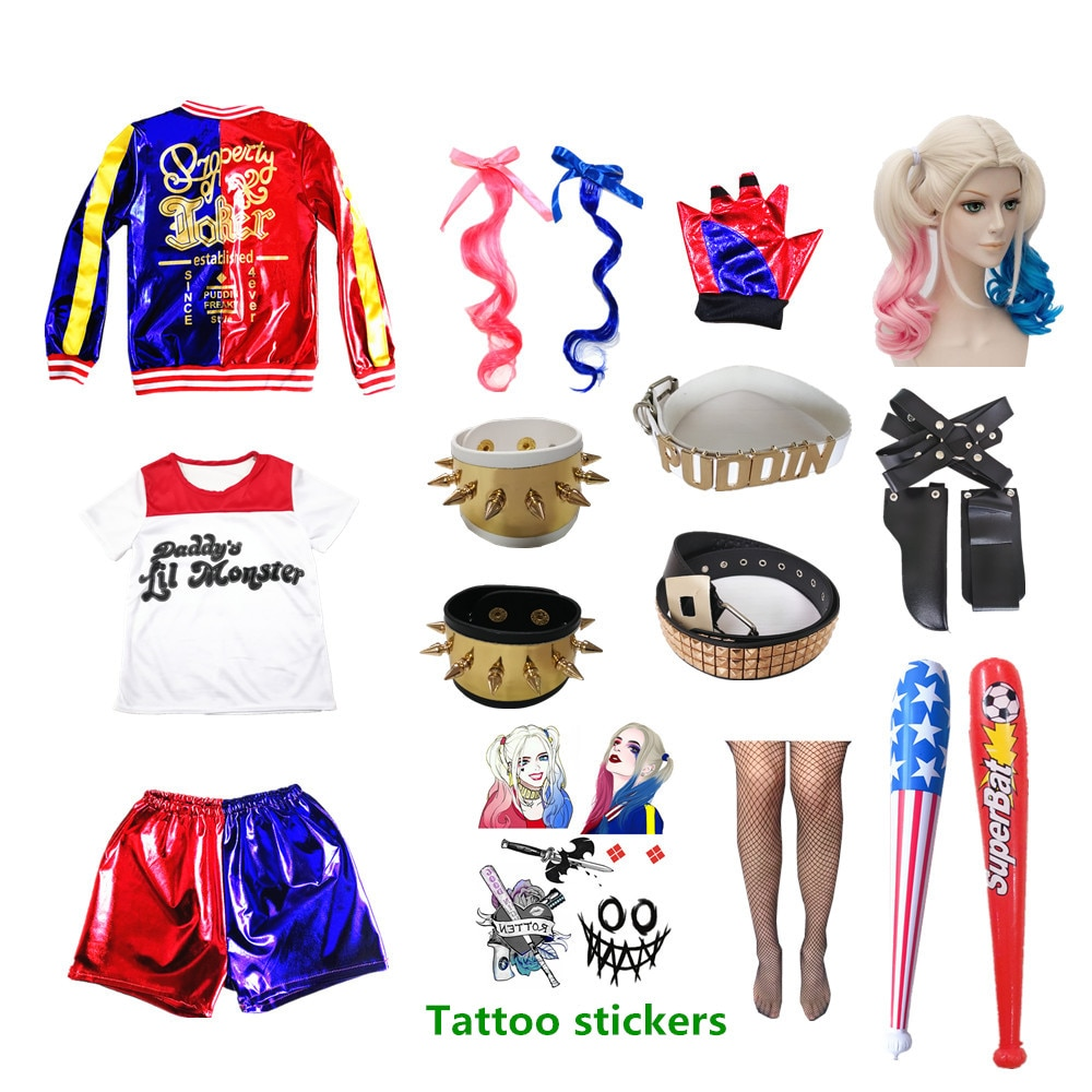 Kids Girls Harley Costume Quinn Cosplay Birthday Party Carnival Wig Shirt Bat Suit Tops Accessories Arkham Shelter City Clown