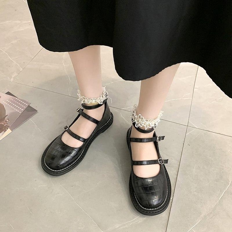 Rimocy moda feminina tiras de tornozelo mary janes sapatos três fivelas sapatos de salto baixo mulher sólido preto bombas de couro patente feminino