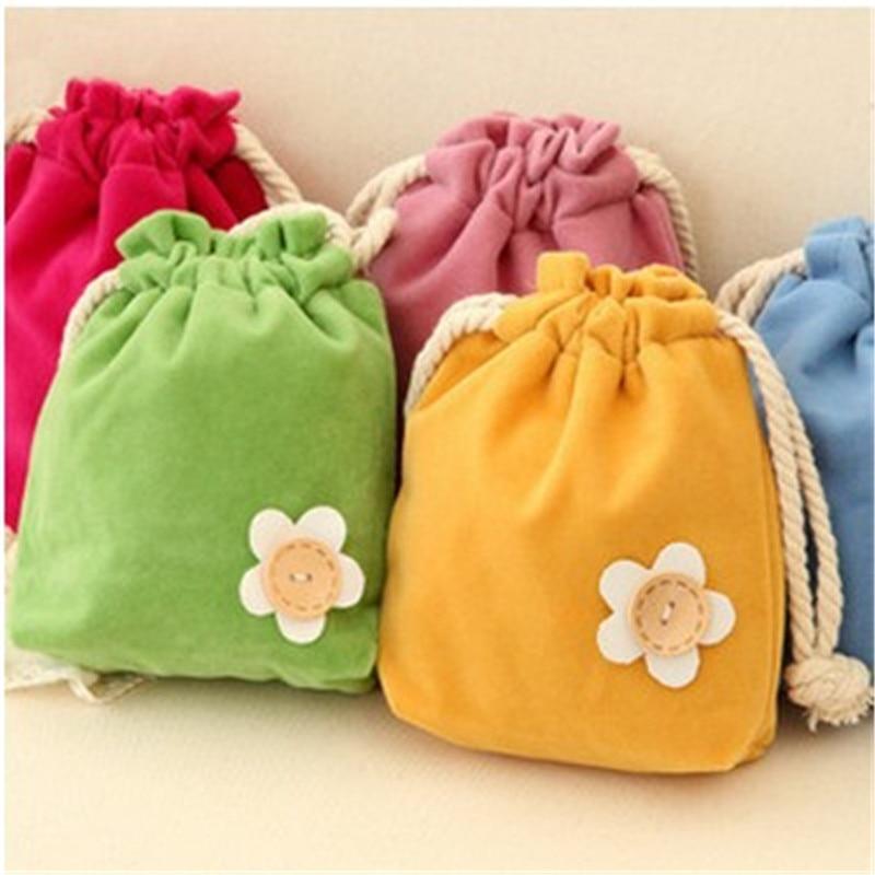 Bolsa con cordón monedero Mini flor terciopelo tarjetas bolsillo viaje cosméticos maquillaje organizador caramelo bolsa regalo niños