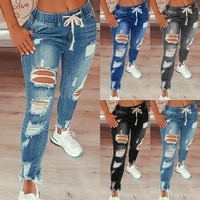 jeans women 2021 drawstring high waist stretch ripped hole jeans fashion denim full length pencil pants skinny jean trousers