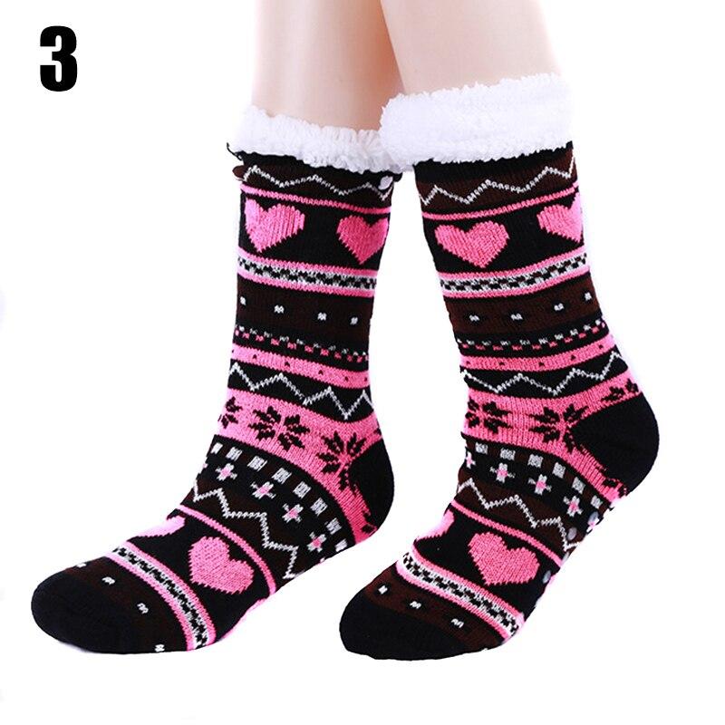 1 par de calcetines de punto Jacquard a rayas de Interior para mujer, calcetines cálidos gruesos de felpa cómoda antideslizantes 2019 para mujer, calcetines informales de invierno para el hogar