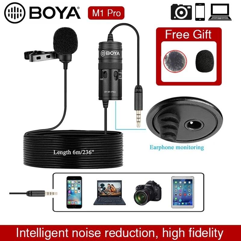 Boya By-m1 برو لاف Lavalier ميكروفون متعدد الاتجاهات مكثف ميكروفون 3.5 مللي متر Mic لكانون/آيفون DSLR مسجلات الصوت