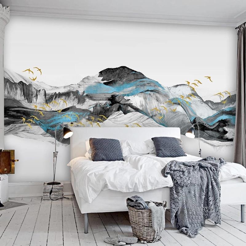 На заказ любой размер обои в китайском стиле абстрактный синий художественный пейзаж птицы Фреска гостиная спальня фон росписи