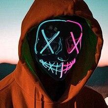 Double Color Led Mask Halloween Led Mask Glowing Purge Mask  Led Light Up Line Horror Mask For Festi