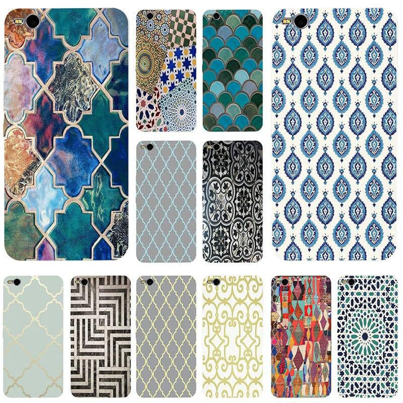 Pour LG G4 G5 G6 K4 K7 K8 K10 V10 V20 V30 pour HTC U11 M7 M8 M9 M10 A9 E9 Plus Coque Souple TPU Maroc Art Déco Carrelage Carte Sacs