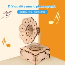 1 Set Creative Classic Home Decor DIY Wood Phonograph Gramophone Music Box Wooden Puzzle Kids Childr