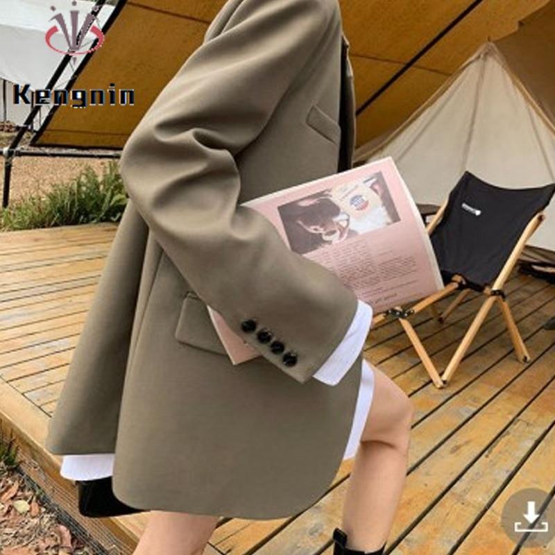 Дизайнерские женские блейзеры, новинка сезона осень-зима 2021, черные куртки цвета хаки, свободная женская верхняя одежда, повседневные пальт...