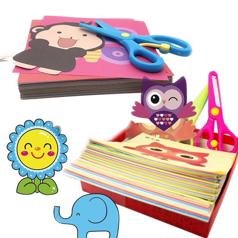 48pcs/set Handmade Paper Cut Book Craft Paper Children DIY Handmade Book Scrapbooking Paper Toys for Kids Learning Toys