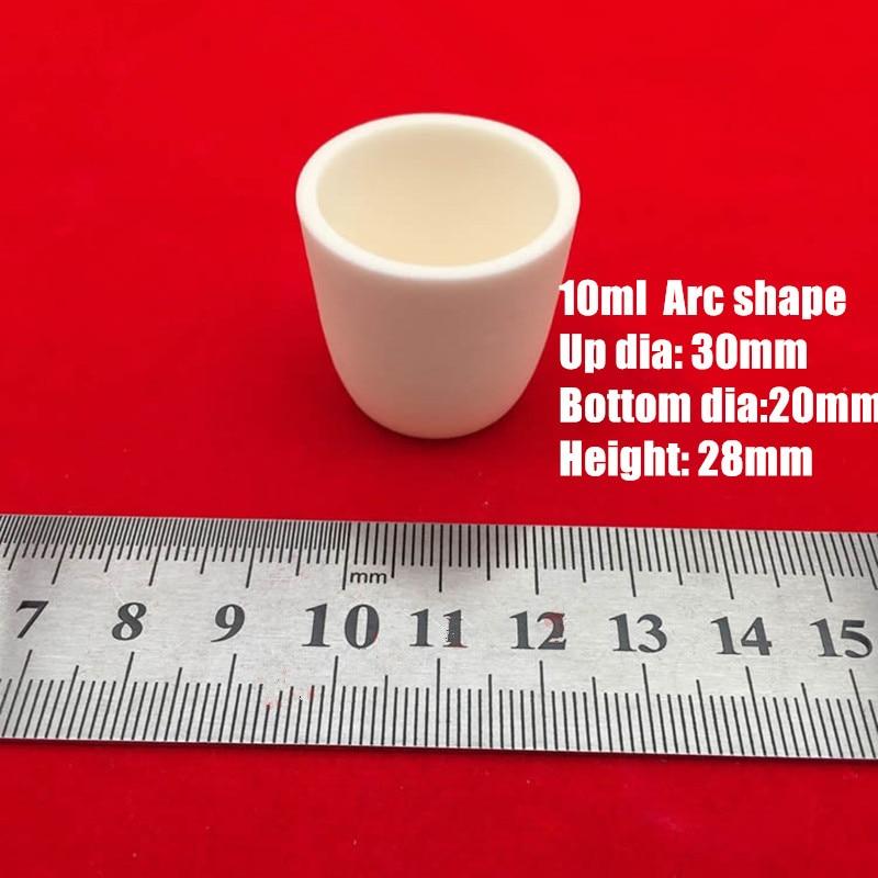 50 قطعة 10 مللي 99% نقية الألومينا الكوراندوم بوتقة/Al2O3 السيراميك بوتقة/ملبدة حجيرة صهر على شكل قوس