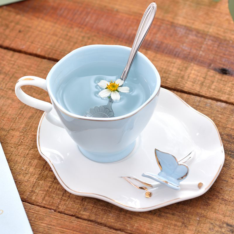 جديد رائعة فراشة الطيور العظام الصين 220 مللي فنجان القهوة الصحن ملعقة الحرة السيراميك الأوروبي الخزف الشاي القدح