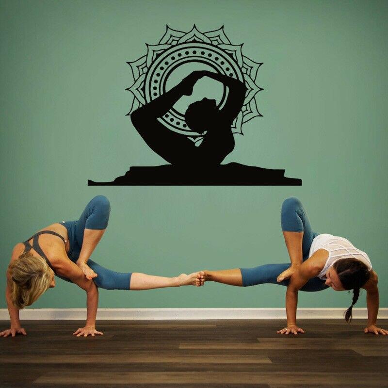 Pegatinas de pared con arco de Yoga, pegatinas de pared de vinilo con posición de Mandala, calcomanías de diseño Interior para el hogar C742