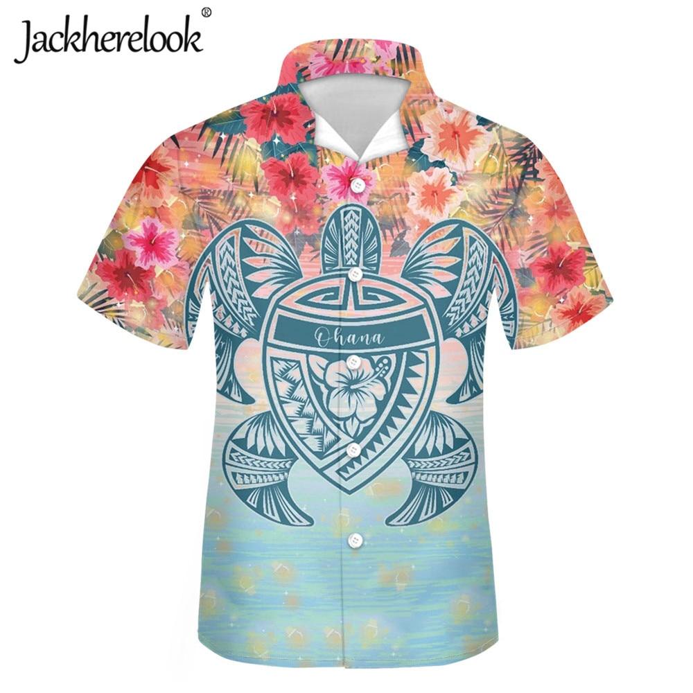Jackherelook-Camisa hawaiana con estampado de tortuga y hibisco para Hombre, Camisa masculina...