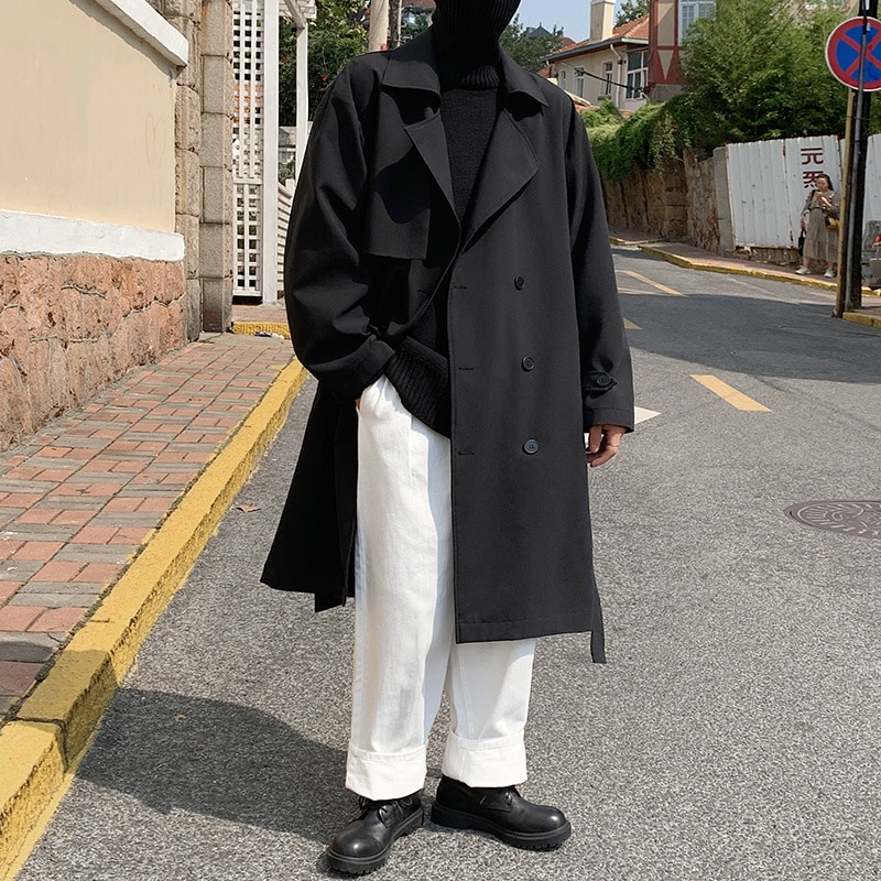 Тренчкот с поясом, Мужская модная повседневная двубортная длинная куртка, Мужская Корейская свободная ветровка оверсайз, Мужское пальто