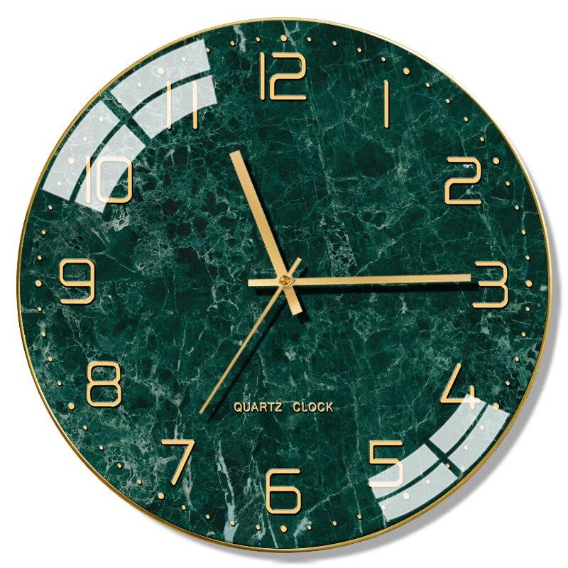 Nordic Modern Silent Wall Clock Glass Living Room Table Home Clocks Wall Home Decor Creative Marble Horloge Kitchen Clock FZ215