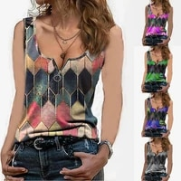 2021 sexy vintage v neck vest summer sleeveless fashion ladies geometric print zipper t shirt bottom shirt women clothing