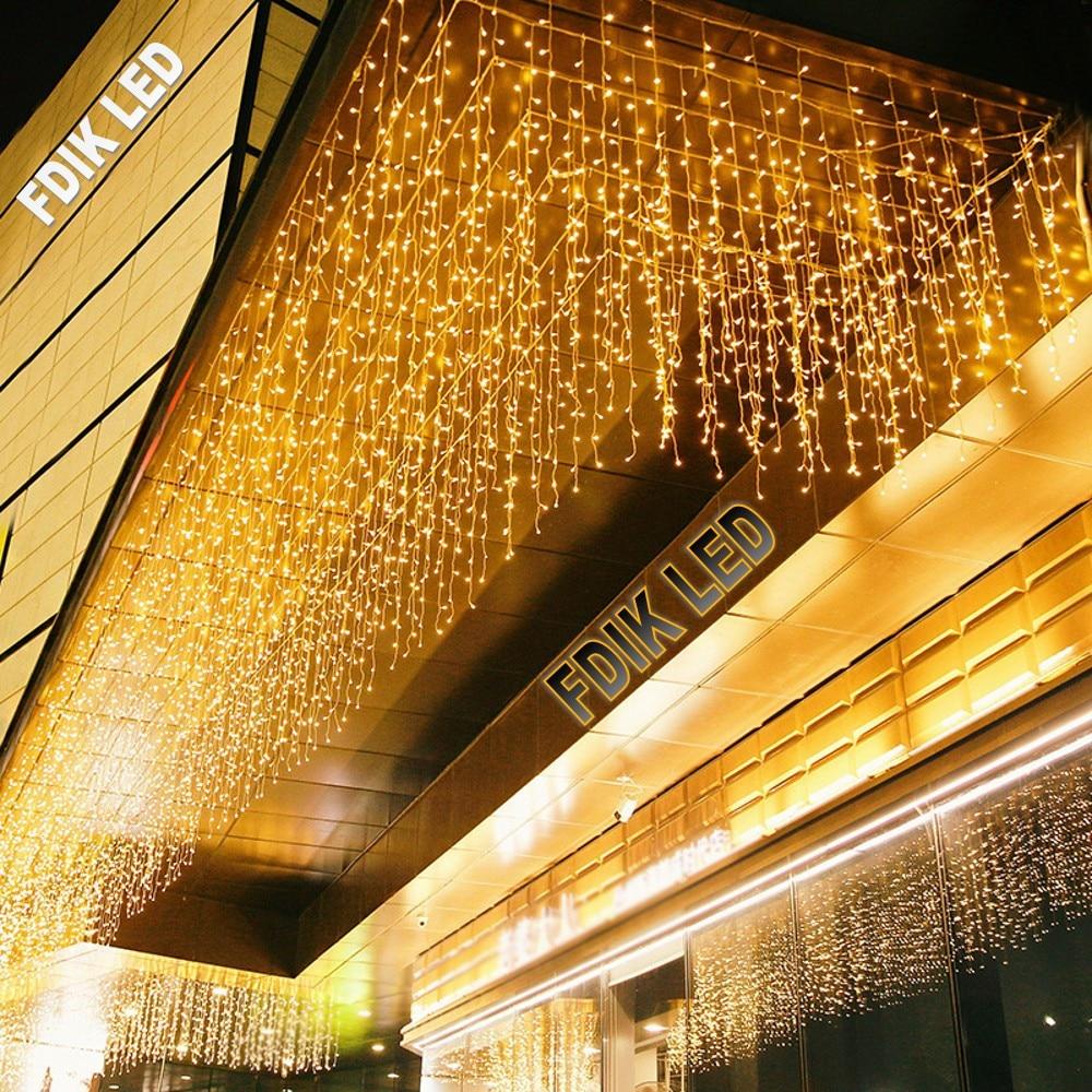 Luzes de Natal, decoração ao ar livre, 5 metros de inclinação 0,4-0,6 m LED cortina de pingente de luz de festão luz